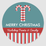 Candy Canes red Candy Gift Jar Round Label Sticker