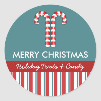 Candy Canes red Candy Gift Jar Round Label Classic Round Sticker