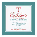 """Candy Canes red Christmas Birthday Invitation 5.25"""" Square Invitation Card"""
