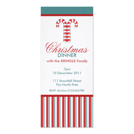 """Candy Canes red Christmas Dinner Invitation 4"""" X 9.25"""" Invitation Card"""