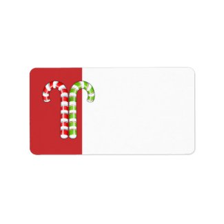 Candy Canes red green Address Label label