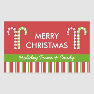 Candy Canes red green Candy Gift Jar Label sticker