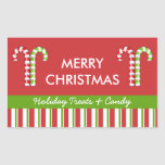 Candy Canes red green Candy Gift Jar Label Stickers