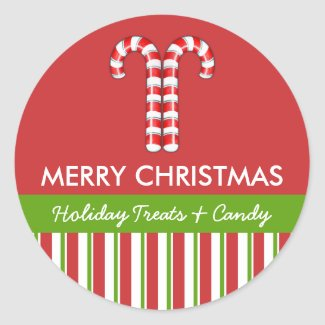 Candy Canes red green Candy Gift Jar Round Label sticker