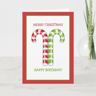Candy Canes red green Christmas Birthday Card card