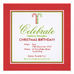 Candy Canes red green Christmas Birthday Invite