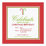 """Candy Canes red green Christmas Birthday Invite 5.25"""" Square Invitation Card"""