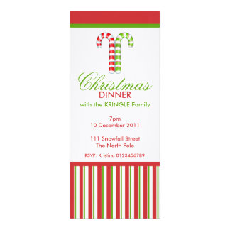 Candy Canes red green Christmas Dinner Invitation