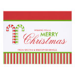 Candy Canes red green flat Christmas Card Custom Announcements