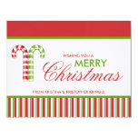 """Candy Canes red green flat Christmas Card 4.25"""" X 5.5"""" Invitation Card"""
