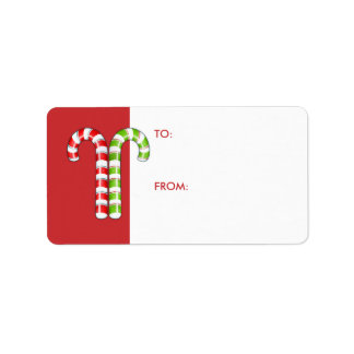 Candy Canes red green Gift Tag