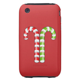 Candy Canes red green iPhone 3G Case-Mate Tough Tough iPhone 3 Covers