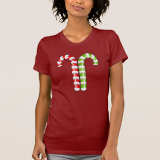 Candy Canes red green Ladies T-shirt