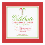 """Candy Canes red green Party Invitation 5.25"""" Square Invitation Card"""