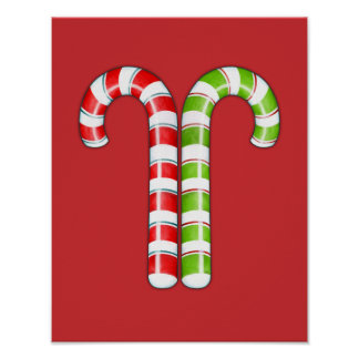 Candy Canes red green Poster