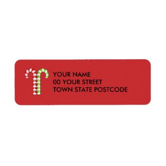 Candy Canes red green Return Address Label label
