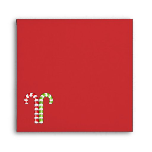 Candy Canes red green Square Envelope