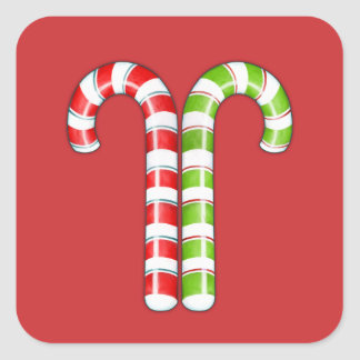 Candy Canes red green Square Sticker
