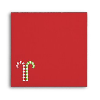 Candy Canes red green stripes Square Envelope envelope