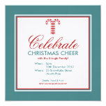 """Candy Canes red Party Invitation 5.25"""" Square Invitation Card"""