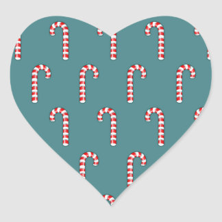 Candy Canes red pattern Heart Sticker