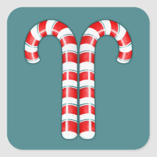 Candy Canes red Square Sticker