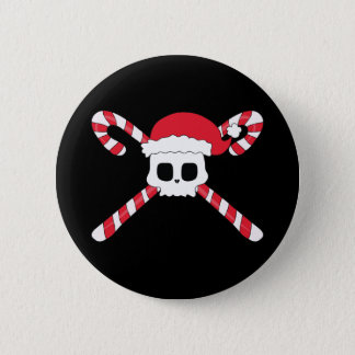 Candy Canes Skull Santa Hat Christmas Button