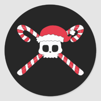 Candy Canes Skull Santa Hat Christmas Classic Round Sticker