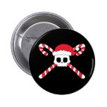 Candy Canes Skull Santa Hat Christmas Pin
