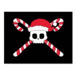Candy Canes Skull Santa Hat Christmas Postcard