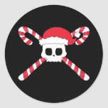 Candy Canes Skull Santa Hat Christmas Round Stickers
