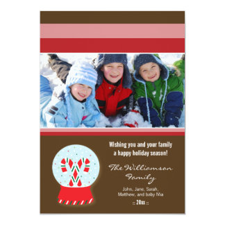 Candy Canes Snowglobe Custom Family Holiday Card