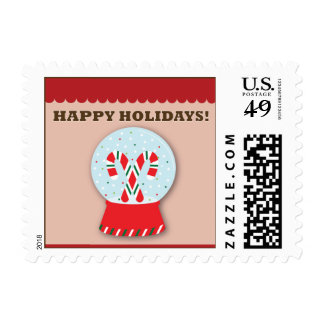 Candy Canes Snowglobes Happy Holidays Postage
