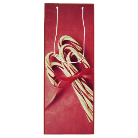 Candy canes wine gift bag