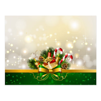 Candy canes with bow postcard
