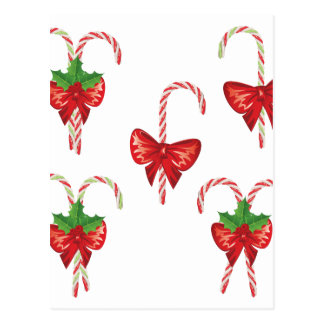 Candy Canes with Bow Set 2 Postcard
