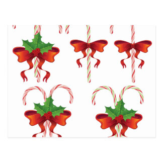 Candy Canes with Bow Set Postcard