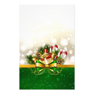 Candy canes with bow stationery