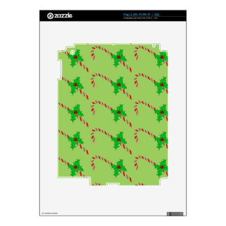 Candy Canes with Holly Design on iPad 2 Skin