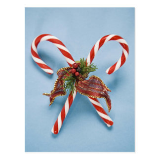 Candy canes with holly postcard