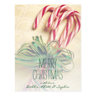 Candy canes with ribbon postcard