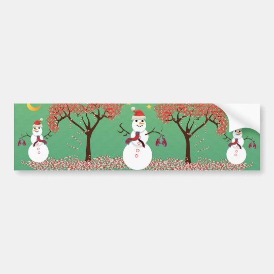 Candy caneTree with Snowman Bumper Sticker