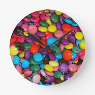 Candy cased choclate buttons Texture Template Round Clock