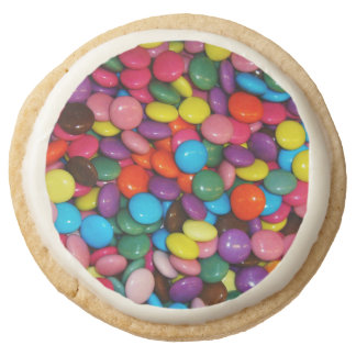 Candy cased choclate buttons Texture Template Round Shortbread Cookie