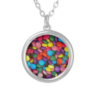 Candy cased chocolate buttons Texture Template Silver Plated Necklace