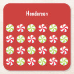 """Candy Christmas Custom Square Paper Coaster<br><div class=""""desc"""">Holiday party occasion coasters featuring your custom text, </div>"""