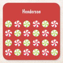 Candy Christmas Custom Square Paper Coaster