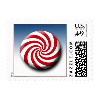 Candy Christmas Holiday Xmas Red White Color Swirl Postage