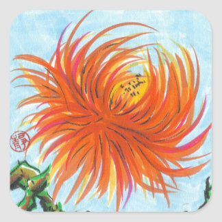 Candy Chrysanthemum Flower Stickers Square