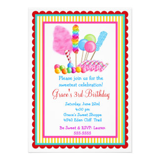 Candy Circus Invitations- with red accent